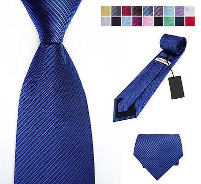 Cravate en soie tissée HandMade la cravate des hommes Boutons de manchettes Mouchoir Set Hanky cadeau 148cm