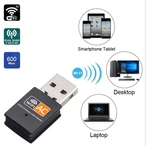 top popular 600Mbps USB WiFi Adapter Dual Band 2.4G   5GHz RTL8811CU Wireless wifi dongle Mini Lan 600M Wi-fi Adapters 802.11AC Ethernet Receiver 2021