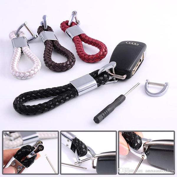 Fashion Braided Leather Cord Key Chain Car Auto 3D logo KeyChain Key Ring 1PCS