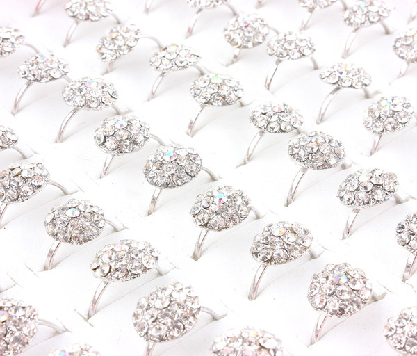 Top Quality Advanced Fashion Alloy Gold-Plated Rhinestone Ring New Mixed 50Pcs Man And Woman Charm Luster Rings 6-8