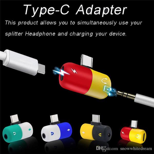 2 in 1 typ c audio adapter dual kopfhörer jack typ c adapter lade anruf aux konverter für huawei für xiaomi mi 8