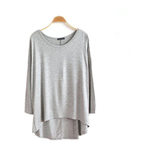 New 100% Cotton Spring Female Long Sleeve T Shirt Women O Neck Bat Sleeve Casual Loose Big Size Asymmetric Long T-shirts Top D4 S430
