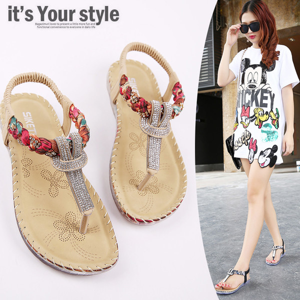 Plus Size 35-45 Floral Crystal Women Flip Flops Sandals Shoes Woman 2019 Summer Holiday Bohemian Beach Flat With Holiday Flats