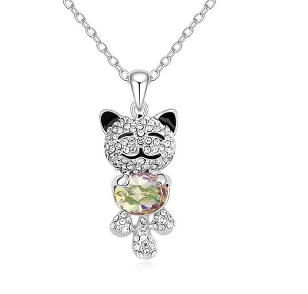 Made in China Woman Ornaments fashion jewelry Using Swarovski Elemental Crystal Necklace Angel Bear Cartoon Pendant Lovely Accessories