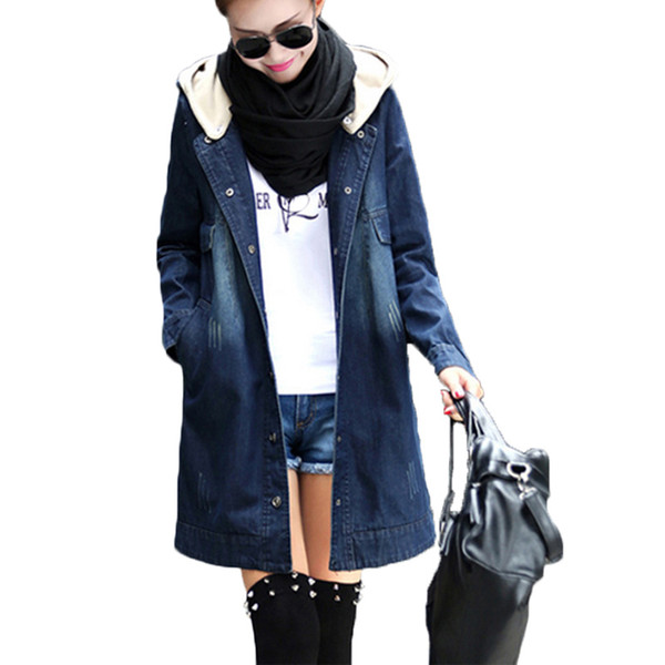 Artı boyutu xxxl uzun moda kapüşonlu denim ceketler kadın 2019 ilkbahar sonbahar casual denim ceket ceketler kadın yırtık jean giyim