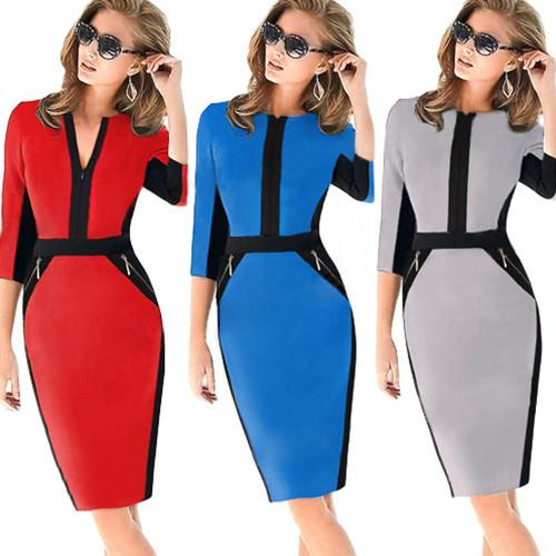 2018 star with the same paragraph dress double pocket zipper Slim fashion explosion dress stitching package hip pencil skirt