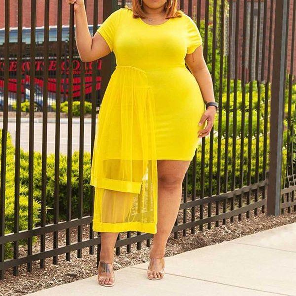 yellow plus size 4xl women dress sheath midi dresses causal african 2020 summer mesh plain female bodycon dress robe vestiods