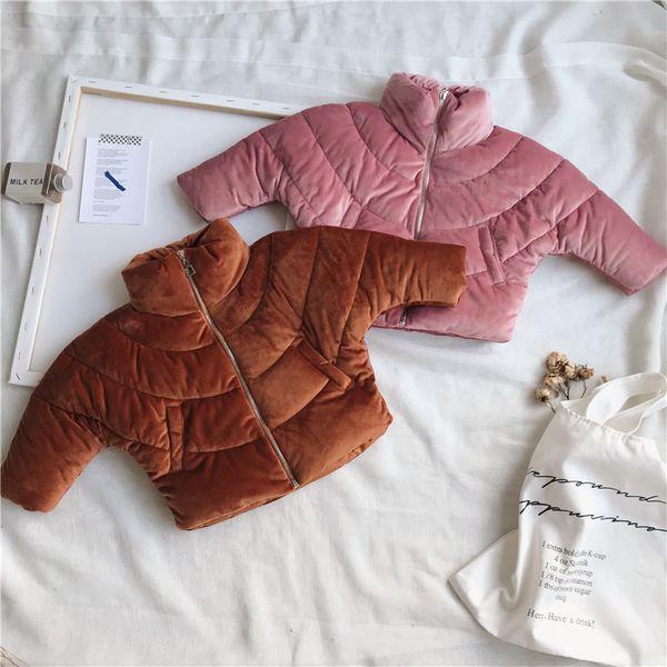 WLG boys girls winter thick parkas kids zipper turtleneck coffee pink coats baby velvet warm clothes children 1-7 years old
