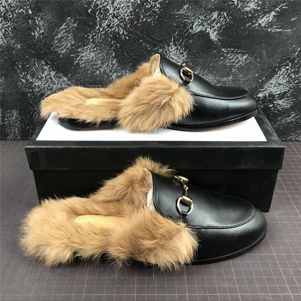 Metal Zinciri ile Kış İtalya Tasarımcı Kadınlar Kürklü Terlik Kürk Flats Süet katır Gerçek Deri Lüks Moda loafer'lar Ayakkabı