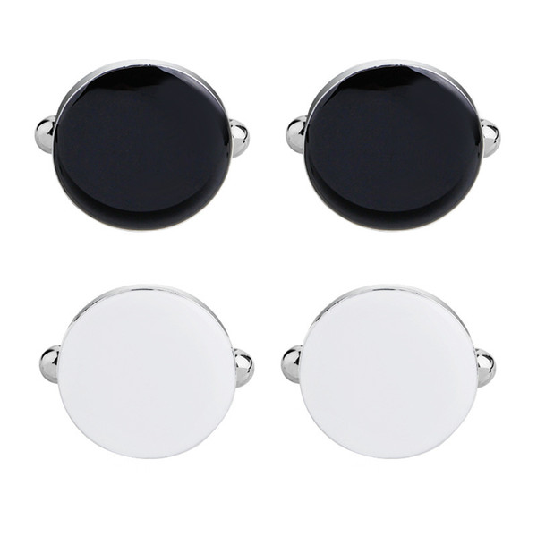 Mens White and Black Cufflinks and Studs Set for Tuxedo Dress Shirt Wedding Business Party Accessories