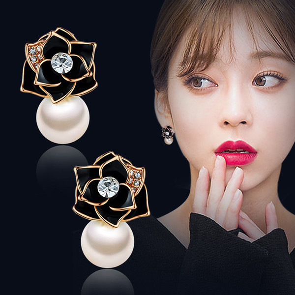 New Fashion Pearl Wedding Bridal Jewelry For Women Flower Shape Design Boucle d'oreille Femme 2019 Best Christmas Gift