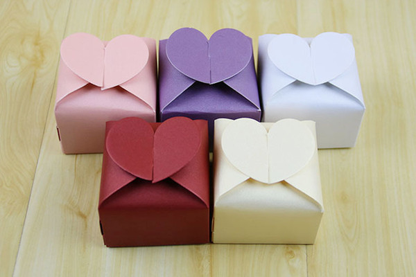 Sweet Love Heart Shape Wedding Favor and gift Box Colorful Candy Packaging Boxes 100 pcs/lot