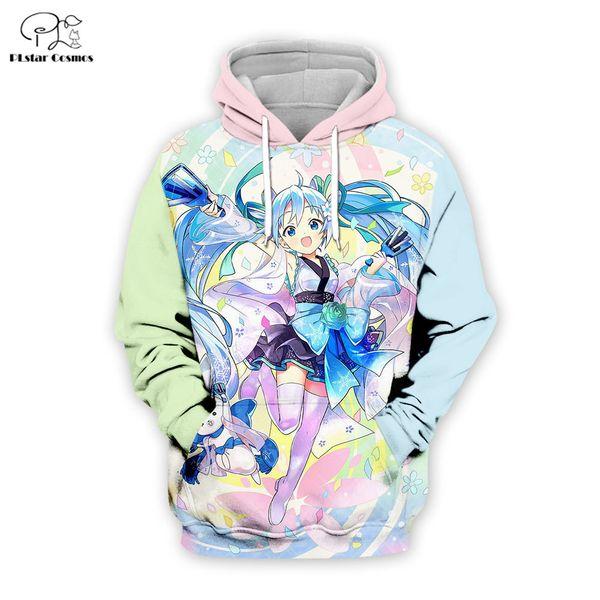 PLstar Cosmos Hatsune Miku 3D Impresso Moletom Com Capuz Das Mulheres Dos Homens de hip hop menino para a menina hoodies Anime jaqueta Plus Size XS-7XL