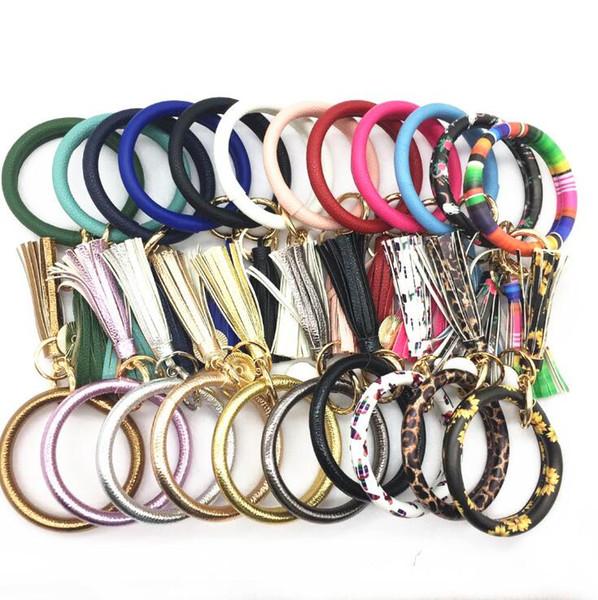 Muñequera Pulsera Llavero con la borla de 33 colores cuero de la PU de las borlas del brazalete llavero girasol pulseras leopardo niños LXL1061 joyería
