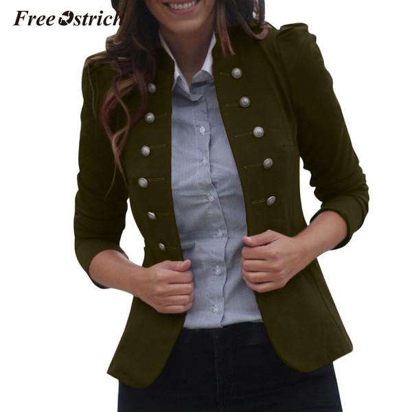 Autruche gratuit Nouveau 2019 Automne Hiver Femmes Dames À Manches Longues Bouton Veste Vintage Slim Manteau Outwear Survêtement Veste N30