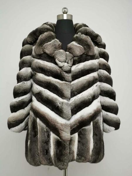 Arlenesain custom 2019 new design luxury gray color chinchilla fur patchwork v-line women coat