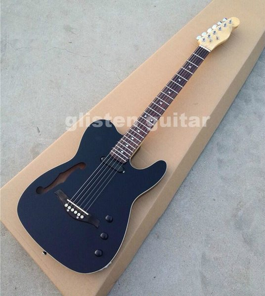New Top quality FDTL-2051 black color solid body with F hollow chrome hardware TL electric guitar ,free shipping