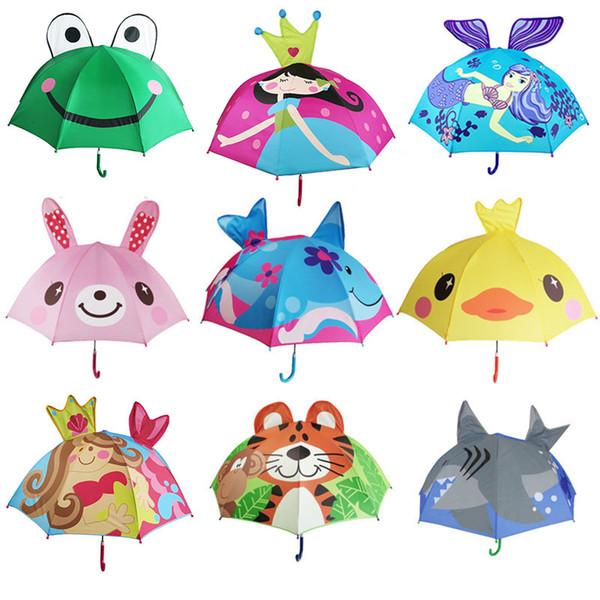 best selling 13 Styles Lovely Cartoon animal Design Umbrella For Kids children High Quality 3D Creative Umbrella baby Sun umbrella 47CM*8K C6128