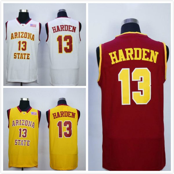 top popular Men NCAA College Jerseys Arizona State Sun Devils 13 James Harden Basketball Jersey Team Red Away Yellow White For Sport Fans 2020