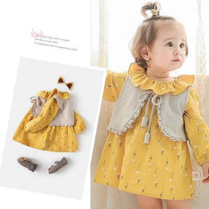 Lovely baby girl dresses two piece dress+vest with long sleeve Lotus leaf collar cute soft girl clothing as birthday gifts free shipping