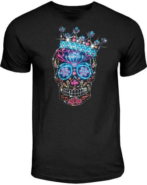 Rhinestone Studs Sugar Skull T Shirt Kings Crown Dia De Los Muertos Small To 4Xl T Shirt Summer Cotton Crossfit Tee Shirt Man