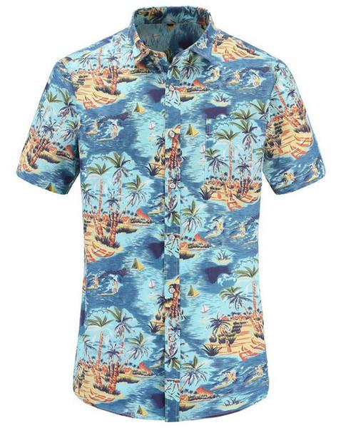 2019 Мода Синий Лето Тонкий Топы Мужская Рубашка Пляж Гавайские Мужчины Рубашка С Коротким Рукавом Печати мужская Повседневная Размер США