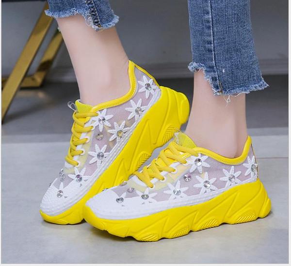 Yeni örgü, platform, içi boş askısı, spor ve eğlence, kadın ayakkabıları