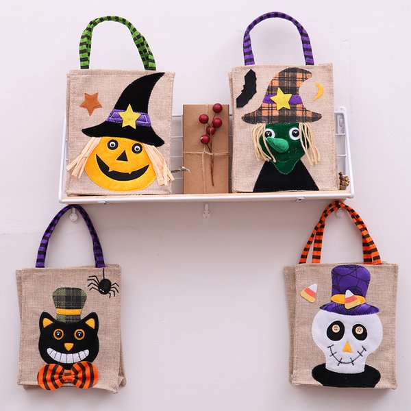 4 Pcs Halloween Candy Bags Trick or Treat Snacks Tote Bags Cartoon Pumpkin Ghost Goodie Bag for Kids Halloween Themed Party Gift Favor
