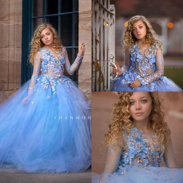 Mavi Prenses 3d dantel Çiçekler Kızlar Düğün Için Elbiseler Uzun Kollu Aplikler Boncuk Balo Çocuk Pageant Törenlerinde İlk Komünyon Elbise