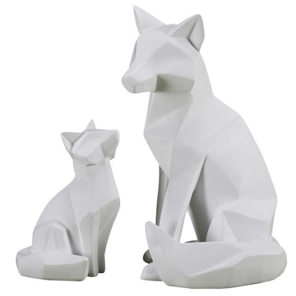 Origami Fox Statue Abstract Geometry Animals Resin Craftwork Living Room Porch Home Decorations L2865