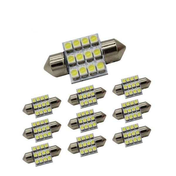 top popular ZHENMIN 10PCS 12-3528-SMD 31MM Festoon LED Car Light DC12V 2021