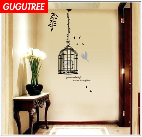 Decora Casa birdcage uccello fumetto arte wall sticker decorazione Decalcomanie murale pittura Smontabile Decor Wallpaper G-1784