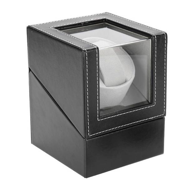 top popular Automatic Single Watch Winder Display Box Automatic Watch Winding Box Jewelry Case Storage Organizer Box Black Brown 2021