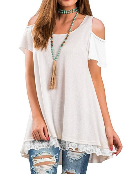 Spring/summer women's tops with rounded collars and bare shoulders , lace and lace t-shirts,10 colors and 5 sizes of cotton t-shirts