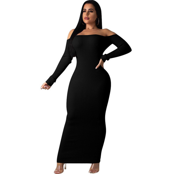 Backless Ribbed Sexy Sweater Dress Fashion Women Slash Neck Long Sleeve Floor-Length Vestido 2019 Spring Off Shoulder Long Maxi Dress