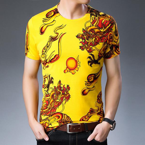 T-shirt mezza manica da uomo a manica corta da uomo estiva con motivo a fantasia drago T-shirt da uomo a mezza manica con personalità di tendenza