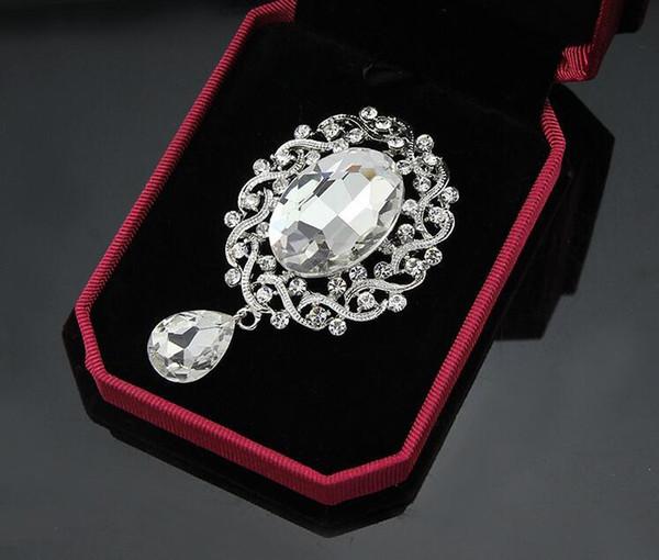 Vintage Kristall Waterdrop Anhänger Broschen Silber Ton Große Kristall Blume Pins Brosche Hochzeit Kostüm Corsage Strass Breastpin