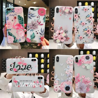 Pretty flowers Birds pattern Phone Case For iPhone 6 6S 7 8 Plus X XS MAX XR Soft Silicone Pink Doll Back Cover cute animals cases