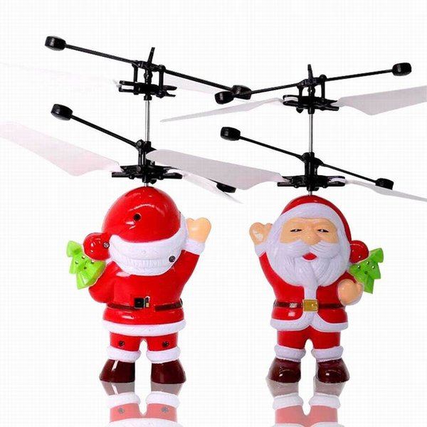 drone 2019 new trending Santa Claus Christmas infrared induction recharging hot sale flying helicopter toys with retail box package