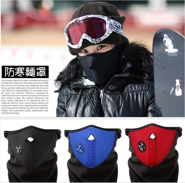 hot face mask Outdoor Bike Bicycle Motorcycle Half Face Mask Fleece Fabric Warm Winter Cyling Cap Cover Neck Guard Scarf Headwear Masks