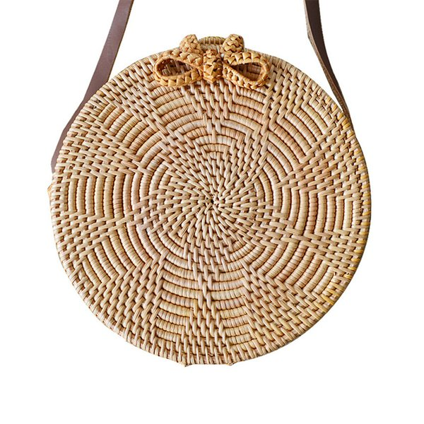 1Beach Bag Round Straw Bag Crossbody Handbag Bowknot Flower Pattern Knitted Woven Rattan Rope Handmade Summer Women Handbag Boho