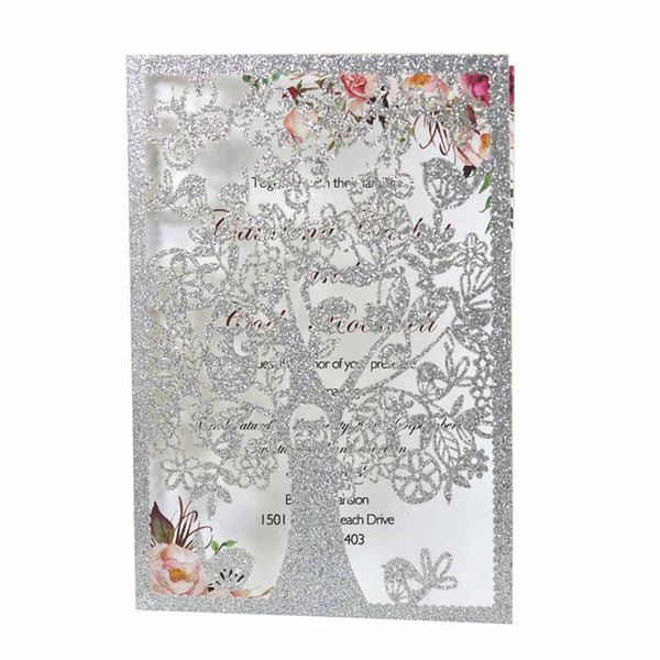 best selling 2021 New Wedding Cards Birthday Party Teachers' Day Tree Bird Laser Hollow Greeting Card Paper Wedding Invitations