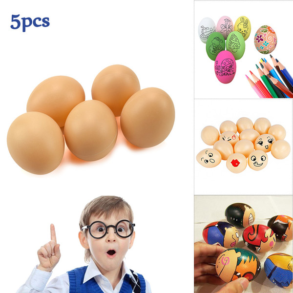 5PCS Plastics Simulation Eggs Toys for kids DIY Painting Easter Egg Educational Toy for Children Fun Doodle Divergent Thinking Creative Gift