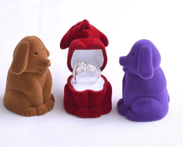 50pcs/lot Creative Cartoon Dog Shape Jewelry Box Velvet Engagement Ring Storage Case Gift Box Jewelry Packaging Display Rack