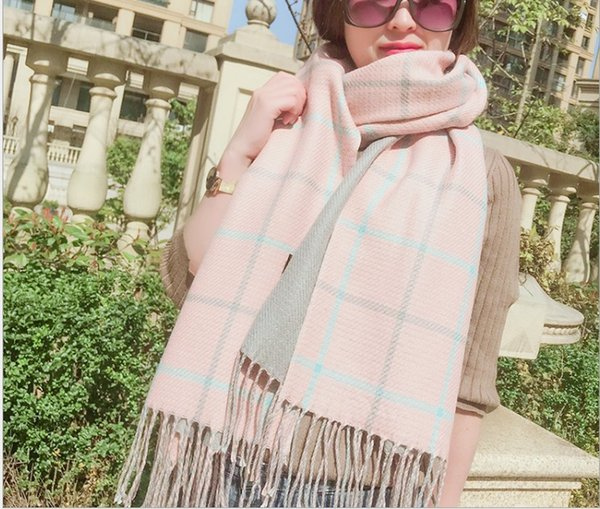 Autumn and winter new thickened check double sided scarf lady winter warm tassel scarf shawl 185x63cm