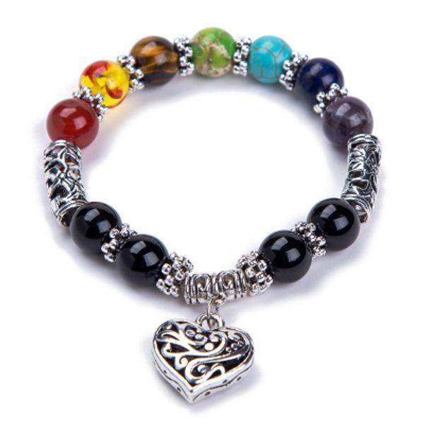 2019 bead Charm bracelet Handmade Buddha Beads Tiger Eye Bracelet 7 chakra Yoga Energy Chakra Stones Heart Bracelets For men women