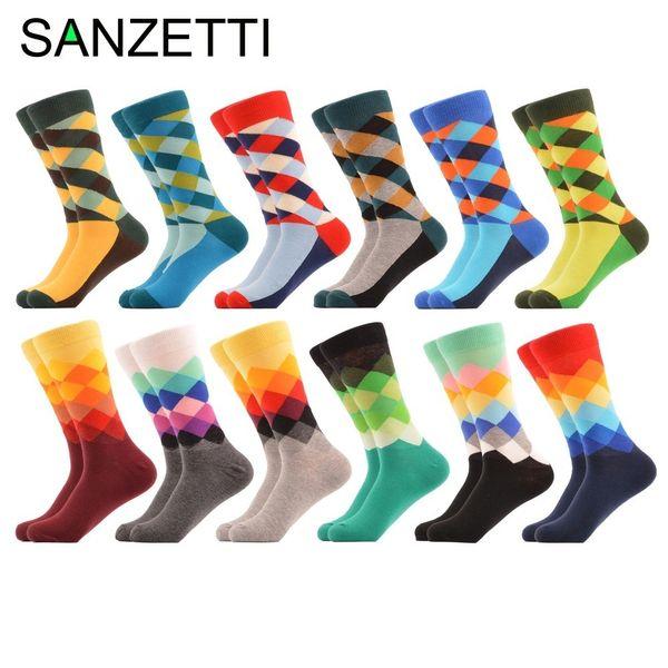 Sanzetti 12 Pairs/lot Men's Colorful Argyle Combed Cotton Socks Funny Striped Dot Multi Set Dress Casual Crew Socks Happy SocksQ190401