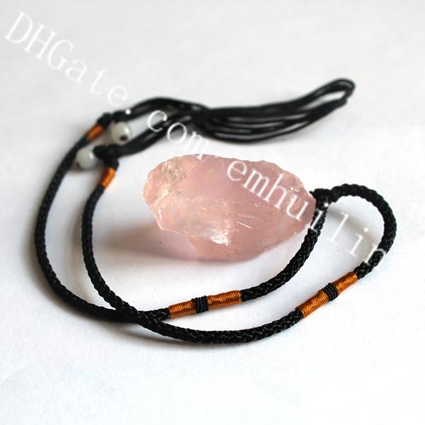 10Pcs Natural Irregular Shape Gemstone Rose Quartz Healing Crystal Original Stone Pendant on Adjustable Rope Jewelry Necklace for Men Women