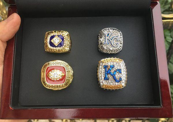 4pcs Kansas City 1969 1985 2014 2015 Royal s World Baseball Championship Ring Set With Wooden Box Fan Gift 2019 wholesale Drop Shipping