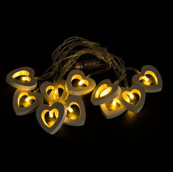 40 Led 4 m Festa de Casamento De Natal Decoração Branco Quente De Madeira Coração Forma de Cordas de Fadas Luzes dos Namorados Dia Decoração de Casa